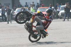 Freestyle. The fans of motor sport with a freestyle exercise bike in Solo, Central Java, Indonesia Stock Images