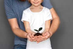 Freestyle. Father hugging daughter on grey holding soil with plant together close-up blurred royalty free stock photography