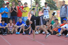 Freestyle football - Michal Rycaj Royalty Free Stock Image