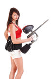 Freestyle girl and paintball Stock Photography