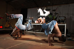Freestyle hip-hop dancers royalty free stock photo