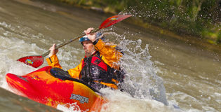 Freestyle Kayaker in River Royalty Free Stock Photos
