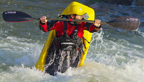Freestyle Kayaker on Truckee River Stock Photos