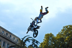 Freestyle Motocross 2009. The spectacular jumps of the daredevils bikers of freestyle Royalty Free Stock Photography