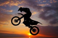 Freestyle motocross al tramonto illustrazione vettoriale