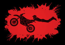 Freestyle Motocross flying trick. Designed on splatter blood background graphic vector Royalty Free Stock Images
