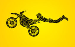 Freestyle Motocross flying trick Royalty Free Stock Photos