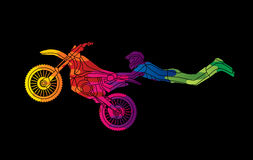 Freestyle Motocross flying trick. Graphic vector Stock Image