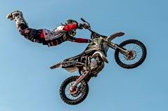 Freestyle motocross - high jump Stock Photos