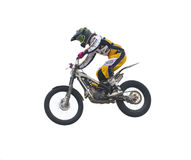 Freestyle motorbike in the air. Isolated on white. Royalty Free Stock Photos