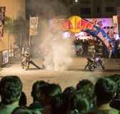 Freestyle motorbike stunt, India Bike Week Stock Photo