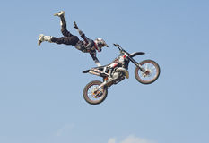 Freestyle motorcycle jump Royalty Free Stock Photo