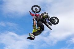 Freestyle motorcycle rider Stock Image