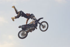 Freestyle motorcycle stunt Stock Photo