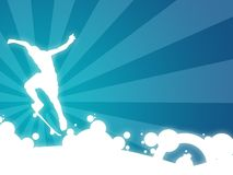 Freestyle skate. Wallpaper illustration with a silhouette of a boy making some movement royalty free illustration