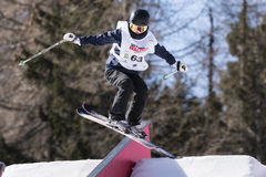 Freestyle Ski FIS Junior World Chanpionship, athlete in slopestyle Royalty Free Stock Image