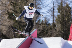 Freestyle Ski FIS Junior World Chanpionship, athlete in slopestyle Royalty Free Stock Photos