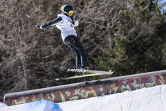 Freestyle Ski FIS Junior World Chanpionship, athlete in slopestyle Stock Photos