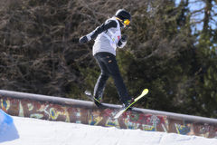 Freestyle Ski FIS Junior World Chanpionship, athlete in slopestyle Stock Images