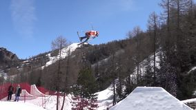 Freestyle Ski FIS Junior World Chanpionship, athlete in slopestyle. slow motion stock footage