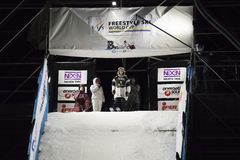 Freestyle Ski Race during Big Air Milan. Royalty Free Stock Photos