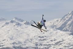 Freestyle skier in les Arcs. Male freestyle skier flying in the air Stock Photography