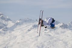 Freestyle skier in les Arcs Stock Photo
