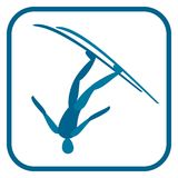 Freestyle skiing emblem. Two color icon of the Aerial skiing. One of the pictogram from winter sports icons set. Vector illustration EPS-8 Stock Image