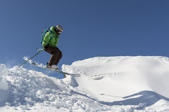 Freestyle skiing jumping Stock Photos