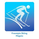 Winter games icon. Freestyle Skiing Moguls icon. Olympic species of events in 2018. Winter sports games icons,  pictograms for web, print and other projects Royalty Free Stock Photo