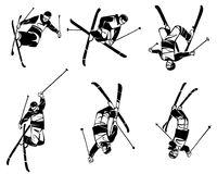 Freestyle skiing. Six skiers in flight. Hand drawn illustration. Isolated over white background Royalty Free Stock Photo
