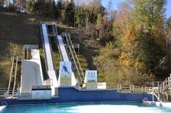 Freestyle skiing training Royalty Free Stock Photo