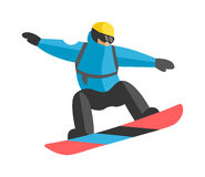 Freestyle snowboarder jumping from top of peak mountain covered clouds vector. Royalty Free Stock Photos