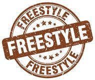 Freestyle stamp. Freestyle round grunge stamp isolated on white background Stock Photography