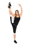 Freestyle woman dancer. Freestyle stretchy woman dancer against white background Royalty Free Stock Image