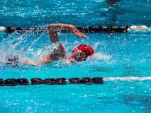 Freestyle swim heat. In outdoor pool Stock Photo