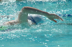 Freestyle swimmer in 200m free race Stock Images