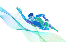 Freestyle Swimmer Silhouette. Sport swimming. Freestyle Swimmer Black Silhouette. Sport swimming, front crawl. Vector Professional Swimming Color Illustration Royalty Free Stock Image