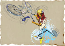 Freestyle trick - bicycle - girl Royalty Free Stock Photo