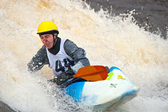 Freestyle on whitewater. Kayak freestyle on whitewater, Russia, Msta, may 2010 Stock Photography