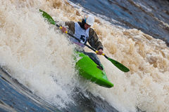 Freestyle on whitewater. Kayak freestyle on whitewater, Russia, Msta, may 2010 Stock Photos