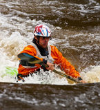 Freestyle on whitewater. Competition of kayak freestyle on whitewater Royalty Free Stock Photography