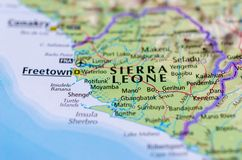 Freetown on map. Close up shot of Freetown. is the capital and largest city of Sierra Leone Stock Photo