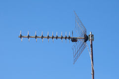 Freeview TV antenna on blue sky Stock Images