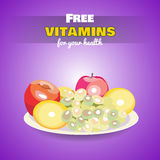 FreeVitamins. White platter of fresh sweet fruits on the purple background. Vector illustration. 10 EPS Royalty Free Stock Photos