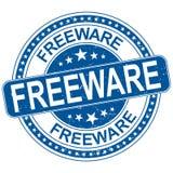 Freeware alrededor del ejemplo sucio del sello de goma azul stock de ilustración