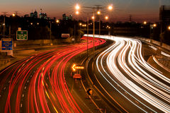 Freeway 2. Melbourne cityscape and freeway at dusk royalty free stock images