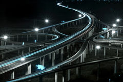 Freeway. In night with cars light motion blur stock image