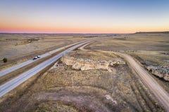 Freeway across rolling prairie stock photos