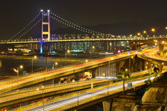 Freeway and bridge at night Stock Images